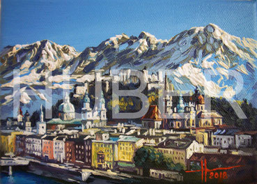 "Marina Huber ""Salzburg. Mountains"" oil on canvas, 13x18cm"