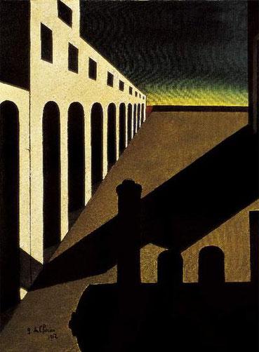 Giorgio de Chirico.La mañana angustiosa 1912.Museo de Arte Moderno y Contemporáneo di Trento e Rovereto. Un lugar donde la incongruencia resulta fascinante.