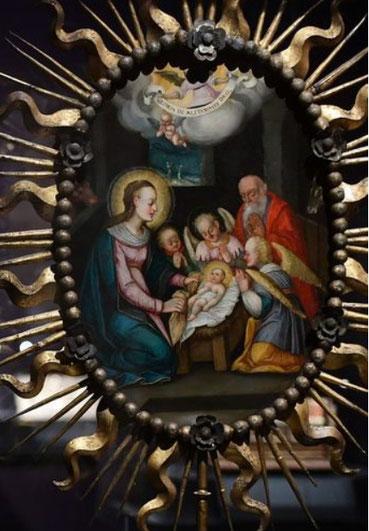 Pintura procesional,Natividad y Virgen con Niño (reverso) Virreinato del Perú 1620-60.La iconografía de la Encarnación divulgada por la Compañía de Jesús y otras congregaciones religiosas como la devoción carmelita.