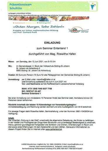 """19.01.2021: Einladung zum Seminar zur frühen mathematischen Bildung: """"Entenland 1"""", organisiert vom Verein Schultüte an der Volksschule St. Johann ob Hohenburg"""