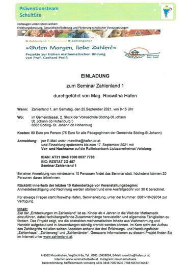 """9.01.2021: Einladung zum Seminar zur frühen mathematischen Bildung: """"Zahlenland 1"""", organisiert vom Verein Schultüte an der Volksschule St. Johann ob Hohenburg."""
