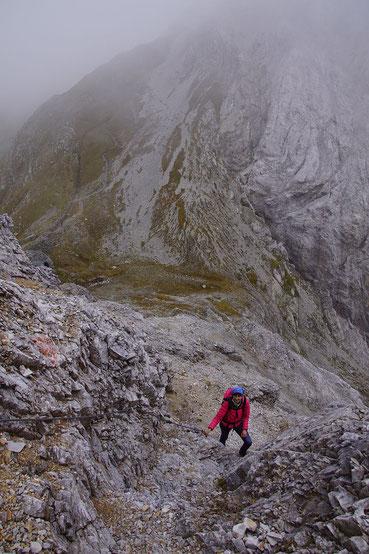 Im leichten Klettersteig hinauf auf die Große Kinigat