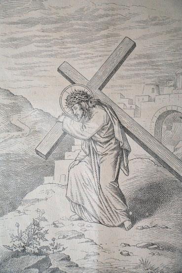 Jesus, der für uns das schwere Kreuz getragen hat.