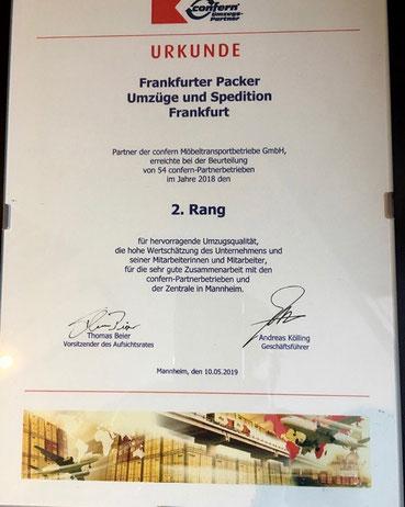 Die Frankfurter Packer belegen den zweiten Platz unter den confern-Systempartnern