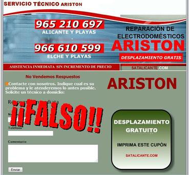 Estafa servicio tecnico pirata ARISTON