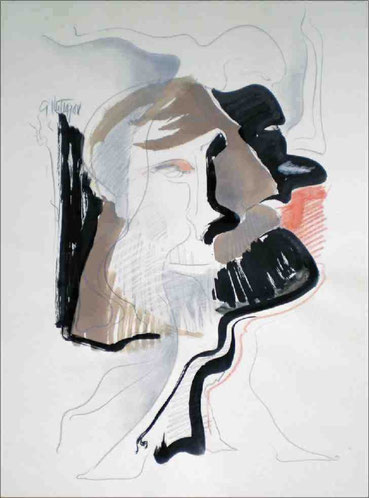 """Doppelkopf I"", 1988, Tusche, Bleistift, Kreide, 56 x 42 cm"