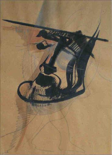 """Männerkopf"", 1988, Tusche, Bleistift, Kreide auf braunem Papier, 56 x 42 cm"