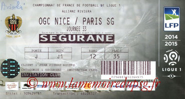 Ticket  Nice-PSG  2014-15