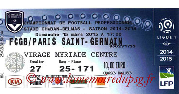 Ticket  Bordeaux-PSG  2014-15