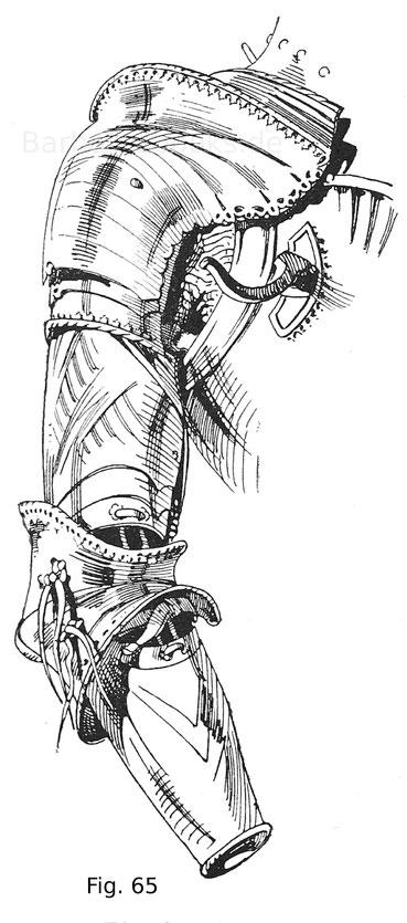 Fig. 65. Rechtsseitiges Armzeug von einem sogenannten gotischen Harnisch des Erzherzogs Sigmund von Tirol mit ausgeschnittenem Vorderflug und aufgebundenen halben Armkacheln. Deutsche Arbeit um 1480.