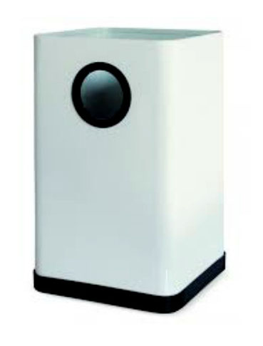 Basurero cuadrado pequeño BI70000 Blanco BI7000N Negro Color: Blanco y Negro Dimensiones en milímetros: Alto: 300 Largo: 182 Ancho: 182 Capacidad: 10 L / 2.64 gl Contenido por caja: 6 piezas