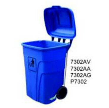 7302AV, 7302AA, 7302AG, P7302. Basurero sin Pedal Polietileno de Alta Densidad 4.3 mm. Colores: Verde, Azul y Gris. Medidas: 55 X 55 X 90 cm . Capacidad de 120 litros.