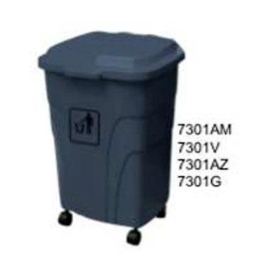 7301AM, 7301V, 7301AZ, 7301G. Basurero con Llantas. Colores: Amarillo, Verde, Azul, Gris. Medidas: 45 X 44 X 68 cm. Capacidad: 70 litros