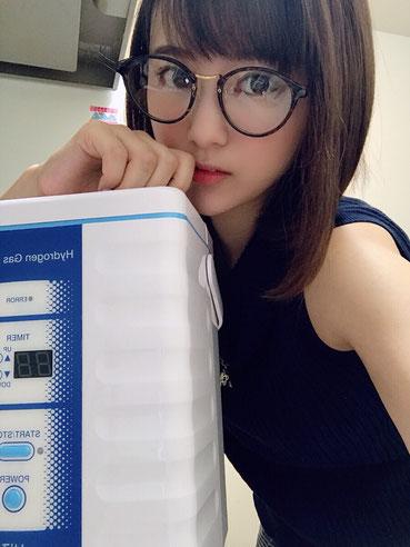 健康にも敏感な歯科衛生士の西原愛夏さんに水素吸引して頂きました