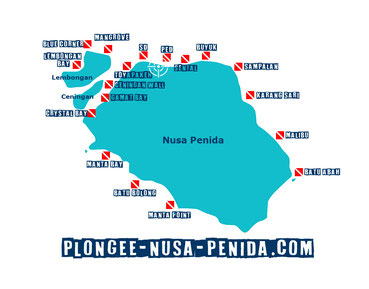 Carte des sites de plongée de Nusa Penida, Bali, Indonesia.