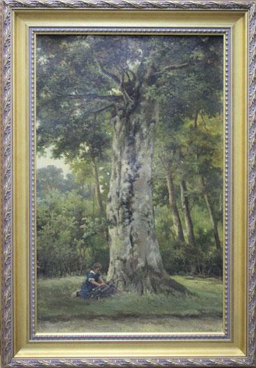te_koop_aangeboden_een_schilderij_boslandschap_van_de_kunstschilder_barend_hendrik_koekkoek_1849-1909