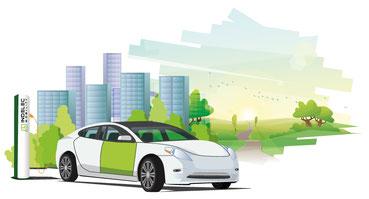 Voiture en charge sur une borne Indelec Mobility