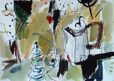 水彩画「ポットのある静物」