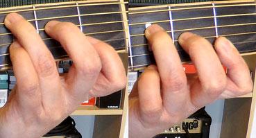Weitere Nahaufnahmen des Gitarrengriffbretts. Die Greifhand greift erst den C-Dur- und dann den F-Dur-Akkord.