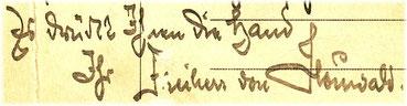 Signum Otto Heinrich von Houwald, 1943.