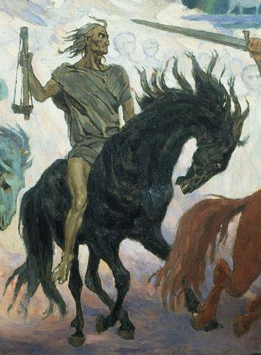 Les 4 cavaliers de l'Apocalypse au temps de la fin. Le deuxième cavalier annonce une période où les conditions économiques seront très difficiles. «Et j'entendis au milieu des quatre êtres vivants une voix qui disait: Une mesure de blé pour un denier.