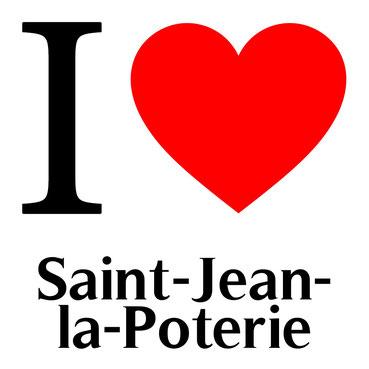 j'aime saint jean la poterie écrit avec un coeur rouge