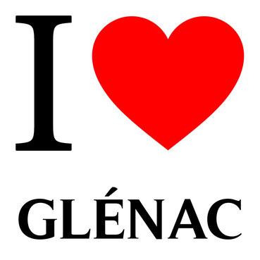 j'aime glénac écrit avec un coeur rouge