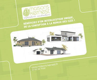 Plans de maison sur un fond vert avec un style bois, un style de plain pied traditionnel, et un style moderne en zinc à étage avec toiture monopente