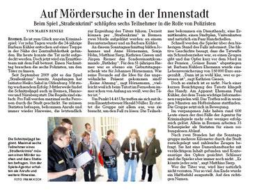 """Zeitungsartikel im Bremer Weserkurier vom 27.04.2010: """"Auf Mördersuche in der Innenstadt""""- Quelle: Weserkurier Bremen"""