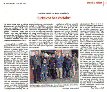 Artikel im Bauernblatt vom 15.05.2015