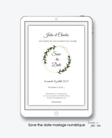Save the date mariage numérique-Save the date mariage digital-Save the date numérique-pdf numérique-Save the date mariage electronique -Save the date à envoyer par mms-par mail-réseaux sociaux-whatsapp-facebook-messenger-Couronne de laurier-hexagone doré