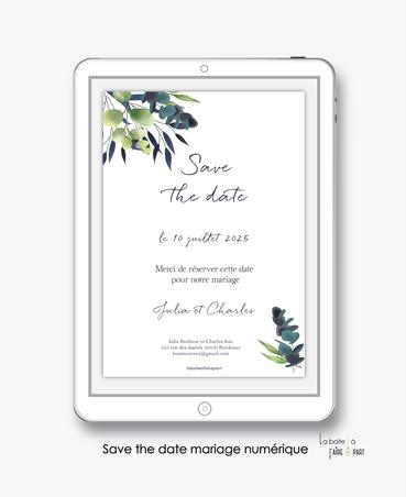 Save the date mariage numérique-Save the date mariage digital-Save the date numérique-pdf numérique-Save the date mariage electronique -Save the date à envoyer par mms-par mail-réseaux sociaux-whatsapp-facebook-messenger-eucalyptus-feuille bleu-végétal