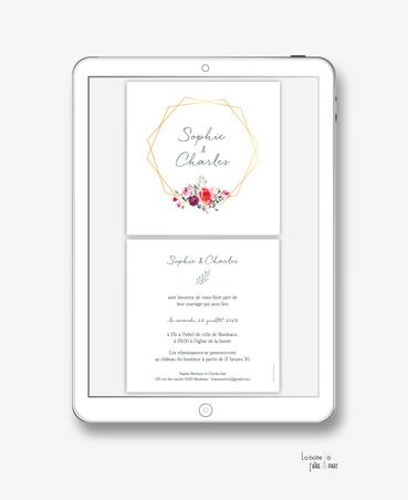 faire-part mariage numérique-faire part mariage digital-faire part numérique-pdf numérique-faire part mariage electronique -faire-part à envoyer par mms-par mail-réseaux sociaux-whatsapp-facebook-messenger-pivoine-bouquet champêtre-formes hexagonal-carré