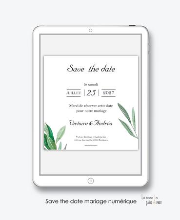 Save the date mariage numérique-Save the date mariage digital-Save the date numérique-pdf numérique-Save the date mariage electronique -Save the date à envoyer par mms-par mail-réseaux sociaux-whatsapp-facebook-messenger-eucalyptus-végétal-tiges-feuilles-
