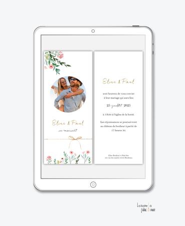 faire-part-mariage-numérique-faire-part-mariage-digital-faire-part-numérique-pdf-numérique-faire-part-mariage-electronique-faire-part-à-envoyer-par-mms-par-mail-réseaux-sociaux-whatsapp-facebook-messenger-fleurs-champêtre-bouquet-de-fleur-noeud-photo
