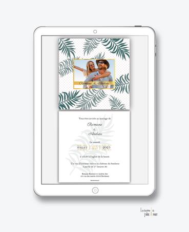 faire-part-mariage-numérique-faire-part-mariage-digital-faire-part-numérique-pdf-numérique-faire-part-mariage-electronique-faire-part-à-envoyer-par-mms-par-mail-réseaux-sociaux-whatsapp-facebook-messenger-feuille-de-palmier-tropical-palme-doré-photo