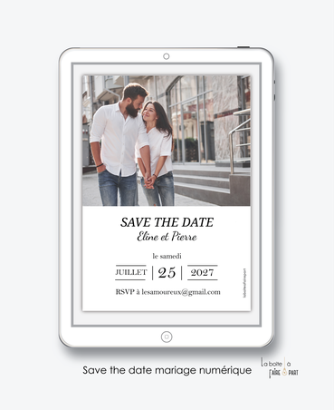 Save the date mariage numérique-Save the date mariage digital-Save the date numérique-pdf numérique-Save the date mariage electronique -Save the date à envoyer par mms-par mail-réseaux sociaux-whatsapp-facebook-messenger-Photo-chic-moderne-