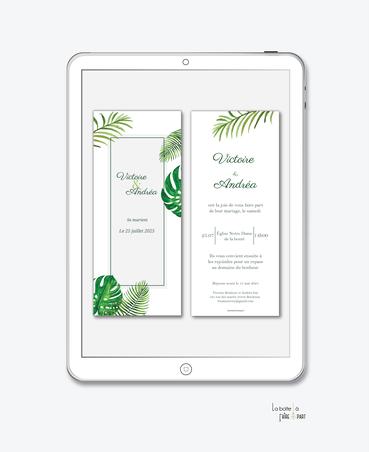 faire-part mariage numérique-faire part mariage digital-faire part numérique-pdf numérique-faire part mariage electronique -faire-part à envoyer par mms-par mail-réseaux sociaux-whatsapp-facebook-messenger-feuille tropical-palmier-jungle-vert-palme