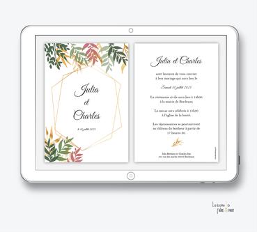 faire-part mariage numérique-faire part mariage digital-faire part numérique-pdf numérique-faire part mariage electronique -faire-part à envoyer par mms-par mail-réseaux sociaux-whatsapp-facebook-messenger-jungle végétale- feuille-automne-doré