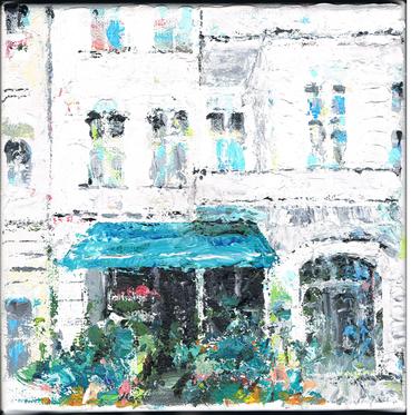 BLumen und Kunstladen ANABALON . Friedbergstraße . Acryl auf Leinwand . 20 x 20 cm . VERKAUFT . SOLD