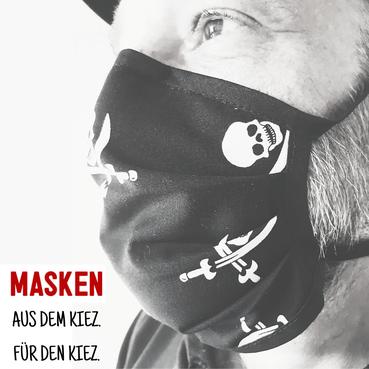 Waschbare Upcycling Mund-Nasen-Masken. Handgefertigt. Aus dem Kiez. Für den Kiez.