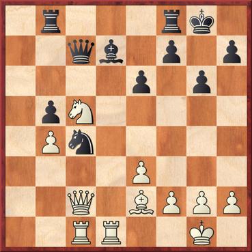 Fleischer - Kiparski: Stellung nach 24. Sc5 und Schwarz kann Materialverlust (Drohungen Sa6, Sxd7 & Lxc4) nicht verhindern