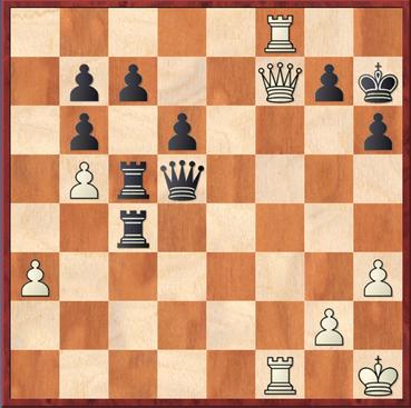 Block - Schürmann: Schwarz zog gerade 41. ... Dd5?? um das Schach auf g8 zu überdecken. Das ließ aber 42.De8! nebst undeckbaren Mattdrohungen zu. Es geschah noch  42. ... g5 43.T1f7+ Kg6 44.Te7+ und Schwarz gab auf 1-0