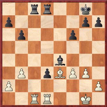 Wang - Straßner: Nach 24. f3 ? Txc1 25. Txc1 Lxf3 hat Schwarz zwei Bauern mehr