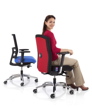 Bürodrehstühle mit Armlehnen, verstellbare Lordosenstütze, Sitztiefenverstellung, verstellbare Kopfstütze