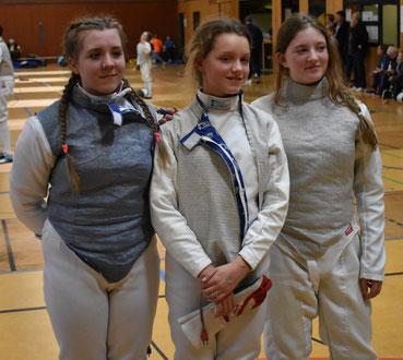 B-Jugend-Damenflorett-Mannschaft mit (von links)  Sarah-Rebecca Görlich, Harmine Buß, Dorothee Hahn