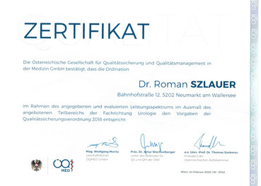 Zertifikat Qualitätssicherung der ÖQ-Med