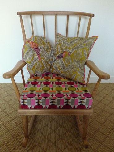 JOLI, fauteuil, rocking-chair éventail, Baumann, vintage