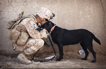 Cpl. Kyle Click embrassant son chien. Crédit : Caporal Reece Lodder, U.S Marine Corps