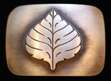 Antique Bronze Aspen Leaf belt buckle